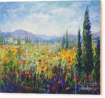 Tuscany Fields Wood Print by Lou Ann Bagnall