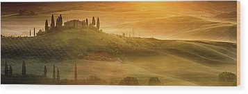 Tuscany In Golden Wood Print by Evgeni Dinev