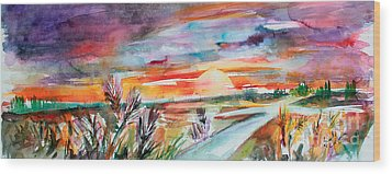 Wood Print featuring the painting Tuscany Landscape Autumn Sunset Fields Of Rye by Ginette Callaway