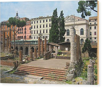 Tuscany- Roman Forum Wood Print by Italian Art