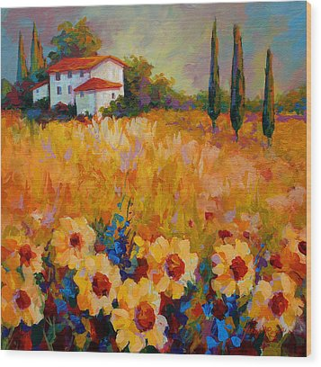 Tuscany Sunflowers Wood Print by Marion Rose