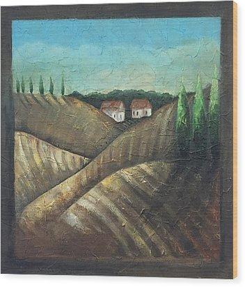 Tuscany Trees Wood Print