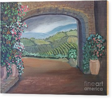 Tuscany Vineyards Through The Archway Wood Print