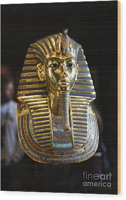 Tutankhamun's Magnificent Golden Death Mask. Wood Print by Mohamed Elkhamisy
