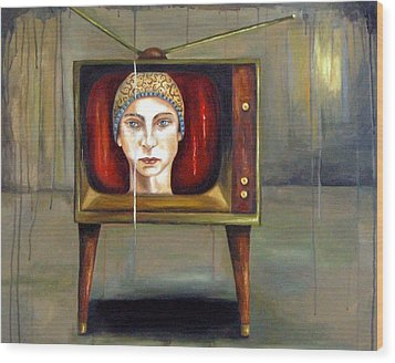 Tv Series 1 Wood Print by Leah Saulnier The Painting Maniac