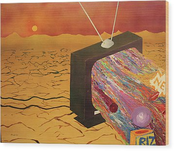 Wood Print featuring the painting Tv Wasteland by Thomas Blood