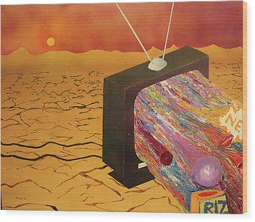 Tv Wasteland Wood Print by Thomas Blood