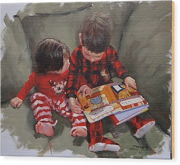 Wood Print featuring the painting Twas The Night Before by Laura Lee Zanghetti