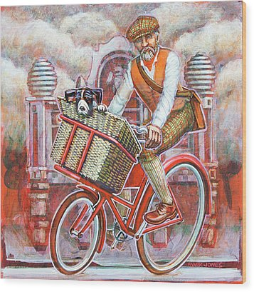 Tweed Runner On Red Pashley Wood Print by Mark Jones