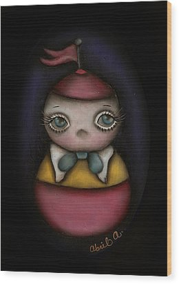 Tweedle Dum Wood Print by  Abril Andrade Griffith