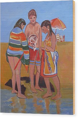 Wood Print featuring the painting Tweens At The Beach by Betty Pieper