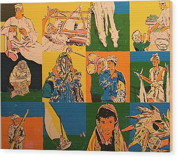 Twelve Scened From Middle East Wood Print by Biagio Civale