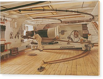 Twenty-seven Pound Cannon On A Battleship Wood Print by Gustave Bourgain
