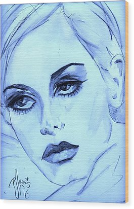 Wood Print featuring the painting Twiggy In Blue by P J Lewis
