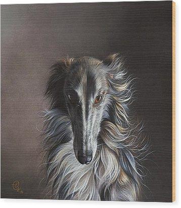 Wood Print featuring the drawing Twilight Angel by Elena Kolotusha