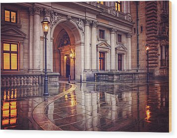 Wood Print featuring the photograph Twilight At Hamburg Town Hall Courtyard  by Carol Japp