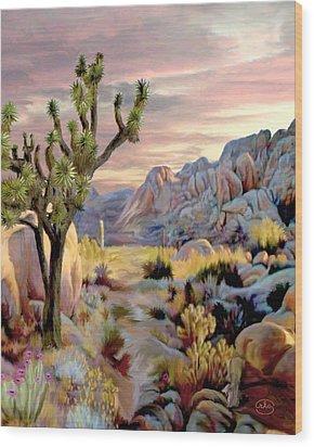 Twilight At Joshua   Vert. Wood Print