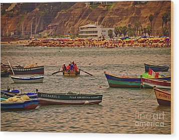 Wood Print featuring the photograph Twilight At The Beach, Miraflores, Peru by Mary Machare
