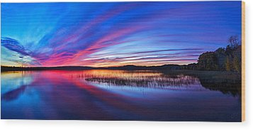 Twilight Burn Panorama Wood Print