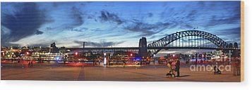 Wood Print featuring the photograph Twilight By The Bridge By Kaye Menner by Kaye Menner