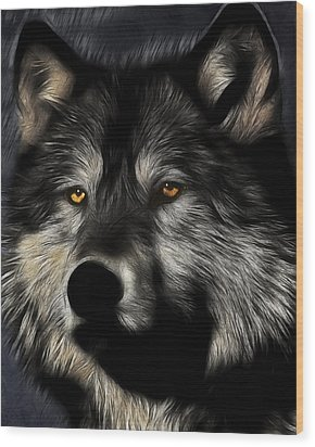Twilight Eyes Of The Lone Wolf Wood Print by Wingsdomain Art and Photography
