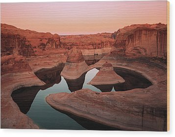 Wood Print featuring the photograph Twilight Glow In Reflection Canyon, Lake Powell, Utah. by Johnny Adolphson