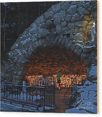 Twilight Grotto Prayer Wood Print