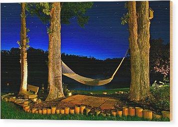 Twilight Hammock Smith Mountain Lake Wood Print by The American Shutterbug Society