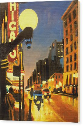 Twilight In Chicago - The Watcher Wood Print by Robert Reeves