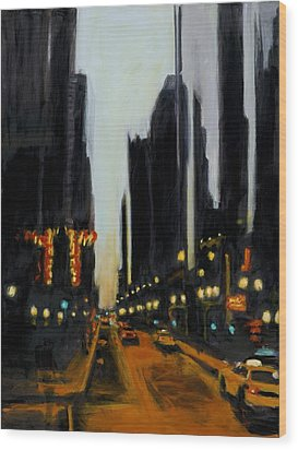 Twilight In Chicago Wood Print by Robert Reeves