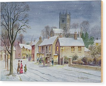 Twilight In The Village Wood Print by Stanley Cooke