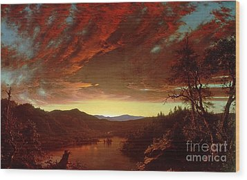 Twilight In The Wilderness Wood Print by Frederic Edwin Church