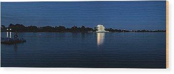 Twilight Jefferson Memorial Panorama Wood Print by Andrew Soundarajan
