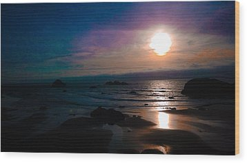 Twilight Low Tide Wood Print