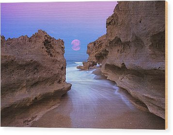 Twilight Moon Rising Over Hutchinson Island Beach Rocks Wood Print