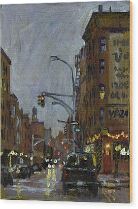 Twilight On 7th And Avenue B Vazac Bar Nyc Wood Print by Thor Wickstrom