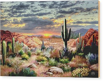 Twilight On The Desert Wood Print by Ron Chambers