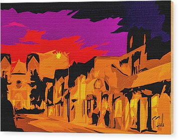 Twilight On The Plaza Santa Fe Wood Print