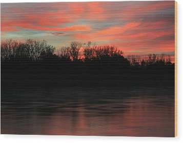Wood Print featuring the photograph Twilight On The River by Chris Berry