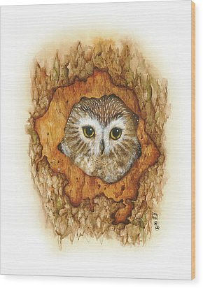 Twilight Owl Wood Print by Donna Genovese