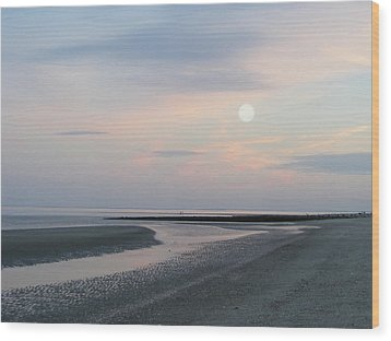 Twilight Time At The Shore Wood Print