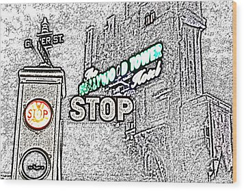 Twilight Zone Tower Of Terror Stop Sign Hollywood Studios Walt Disney World Prints Colored Pencil Wood Print by Shawn O'Brien