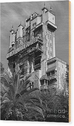 Twilight Zone Tower Of Terror Vertical Hollywood Studios Walt Disney World Prints Bandw Poster Edges Wood Print by Shawn O'Brien
