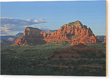 Twin Buttes Sunset Wood Print