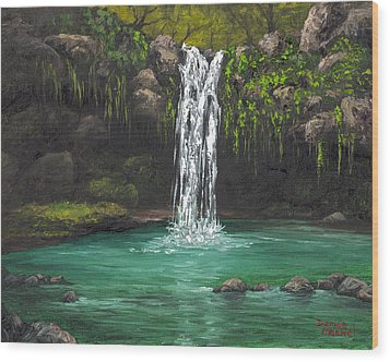 Wood Print featuring the painting Twin Falls 2 by Darice Machel McGuire