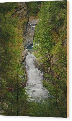 Twin Falls Snoqualmie River Washington Wood Print by Stacey Lynn Payne