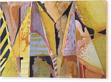 Twin Golden Pyramids Wood Print by Mindy Newman