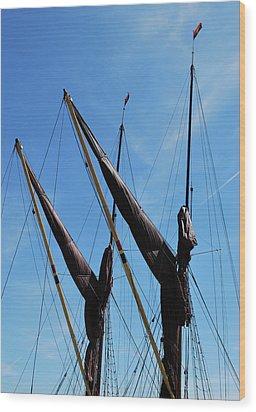 Twin Mast Wood Print by Terence Davis