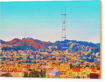 Twin Peaks In San Francisco Wood Print by Wingsdomain Art and Photography