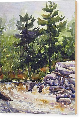 Twin Pine Rapids Wood Print by Chito Gonzaga